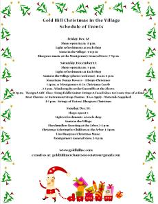 Christmas in the Village 2014 List of Events