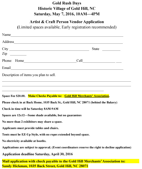 Gold Rush Days 2016 Vendor Application