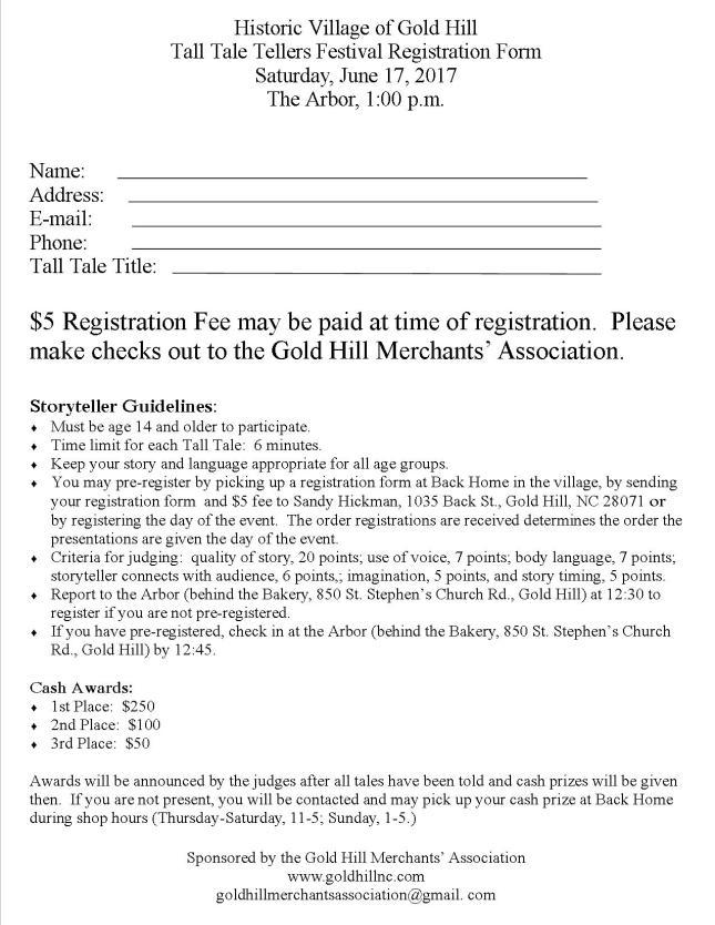 Tall Tale Tellers' Registration Form