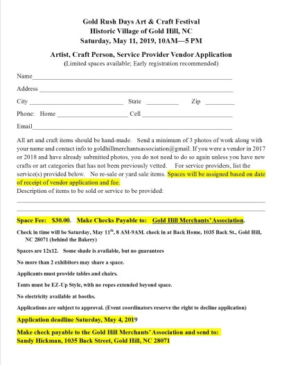 2019 gold rush day vendor application